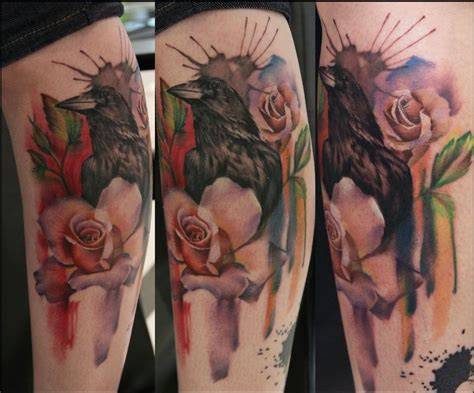 crow and roses tattoo the map tattoos flower and roses