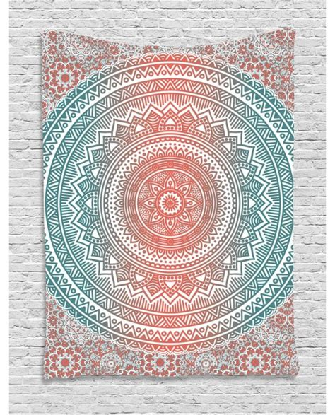Duvet Cover Coral Teal And Coral Tapestry Antique Mandala Printed Wall Hanging