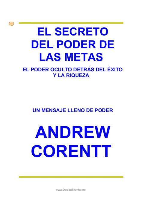libro el secreto del poder el secreto del poder de las metas andrew corentt 2010