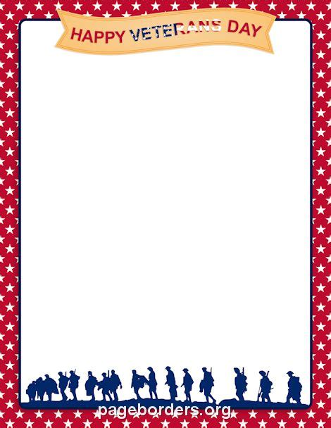 Printable Veterans Day Border Use The Border In Microsoft Word Or Other Programs For Creating Happy Veterans Day Template