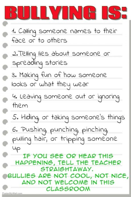Anti Bullying Classroom Poster Template Postermywall Anti Bullying Poster Templates