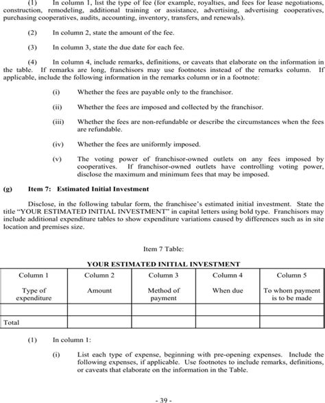 Download Franchise Disclosure Document For Free Page 39 Formtemplate Franchise Fdd Template