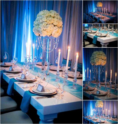 black blue and silver table settings royal family styled seating reception table our light blue and silver wedding decorations royal