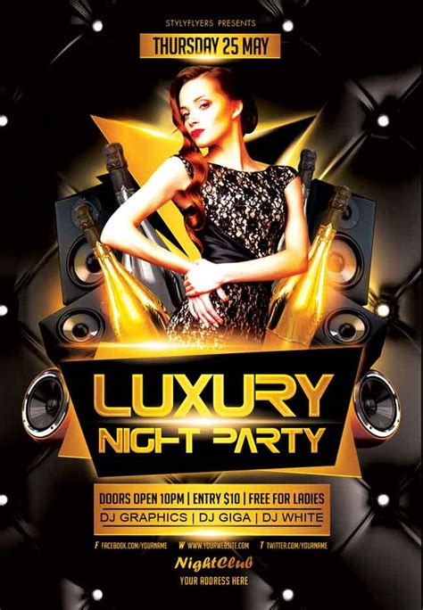 free luxury night party psd flyer flyer inspiration