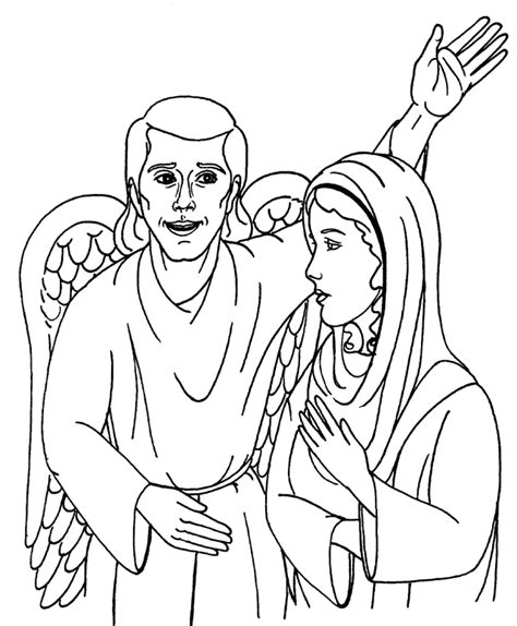 Coloring Pages Of The Angel Gabriel | mary and the angel gabriel coloring page