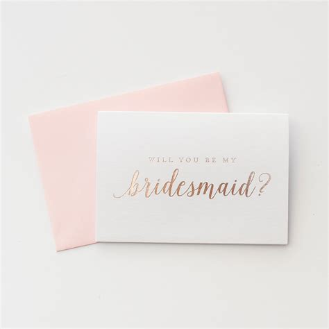 Gift Cards For Bridesmaids - rose gold foil will you be my bridesmaid card proposal gift bridesmaid invitation box