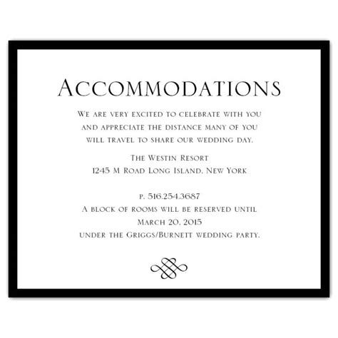 accommodation cards for wedding invitations template wedding invitation accommodation card wording