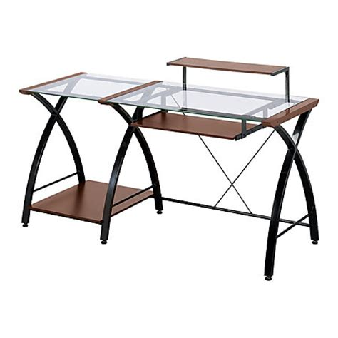 Office Max Glass Desk Z Line Designs Brisa Glass Computer Desk 36 H X 61 W X 24 D Cherry By Office Depot Officemax