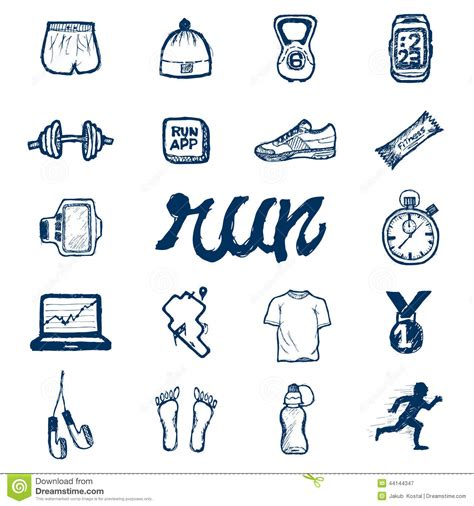 doodle run run icons set in doodle style stock vector image 44144347