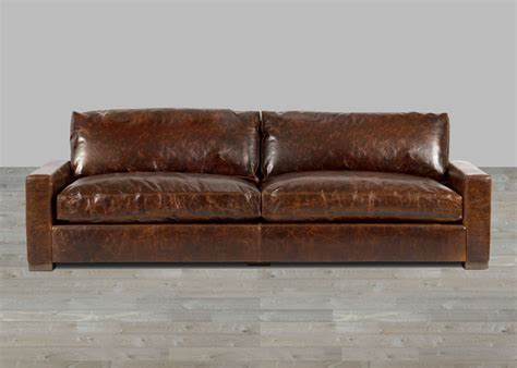 Crackled Brown Top Grain Leather Sofa Sectional Brown Leather Sofa