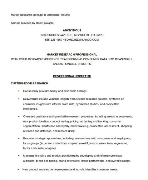 market research sle resume 10 functional resume templates pdf doc free