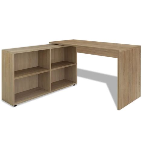 vidaxl co uk vidaxl corner desk 4 shelves oak