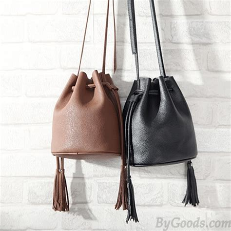 Simply Bag casual solid simple tassel drawstring bag messenger