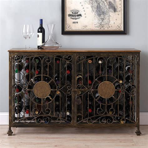 Wine Enthusiast 84 Bottle Antiqued Wine Jail Console 634