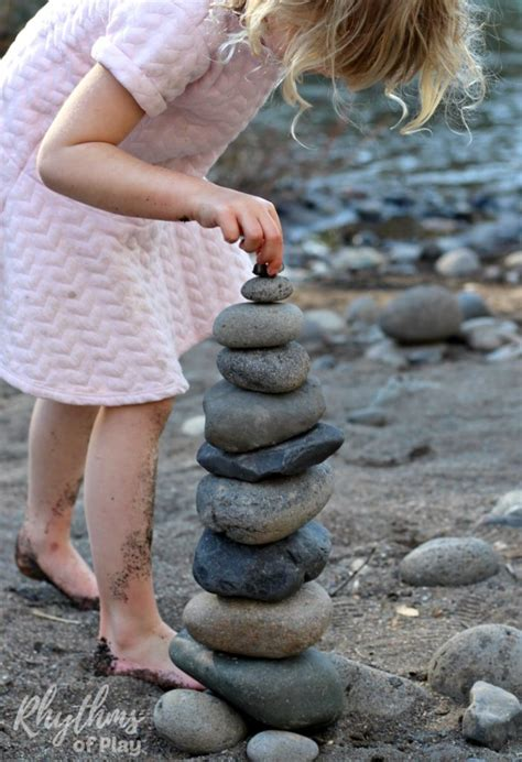 rock balancing stone stacking art steam activity for kids rhythms of play