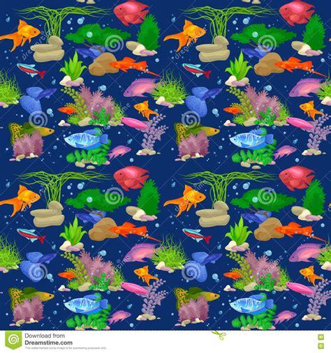 aquarium design eps aquarium fish vector illustration seamless pattern stock