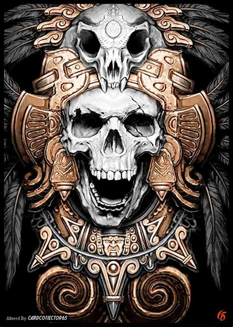 aztec warrior skull tattoo designs aztec skull mtg sleeves skulls mtg