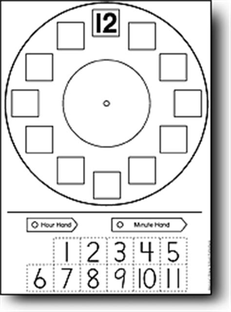 Make A Paper Clock Template - leren klok kijken
