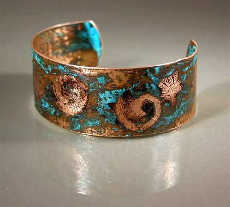 Handmade Copper Cuff Bracelet - handmade embossed patinated copper cuff bracelet cb657