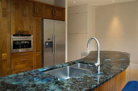 Kitchen Island Contemporary walnut kitchen with labradorite madagascar granite