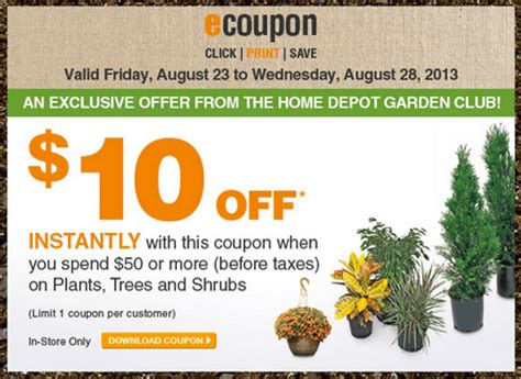 home depot garden club coupons save   plants