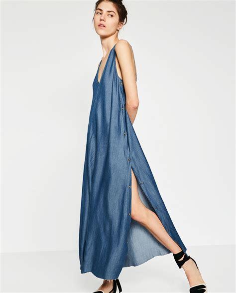 Dress Denim Zara zara denim dress in blue lyst