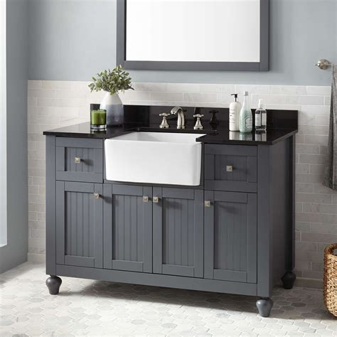 48 vanity with 48 quot nellie farmhouse vanity dark gray bathroom