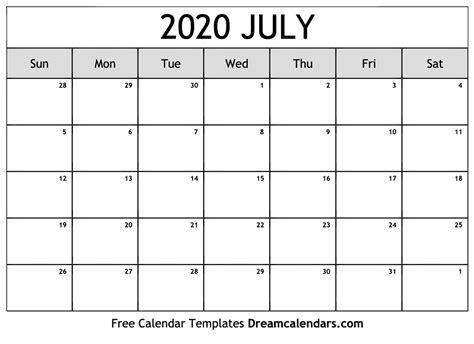 printable blank july  calendar   heart