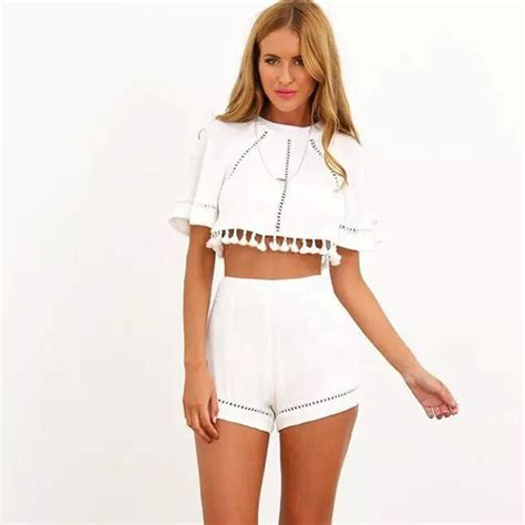 Ms Croptee New Fashion 2015 Summer S White Lace Crochet