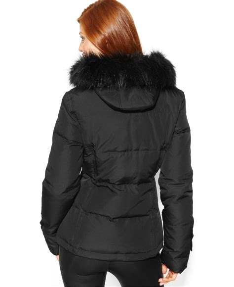 Calvin Klein Hooded Faux Fur Trim Quilted Puffer Coat calvin klein hooded faux fur trim quilted puffer coat in