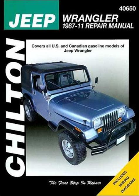 Jeep Wrangler Owners Manual Jeep Wrangler Yj Chilton Repair Manual 1987 2011