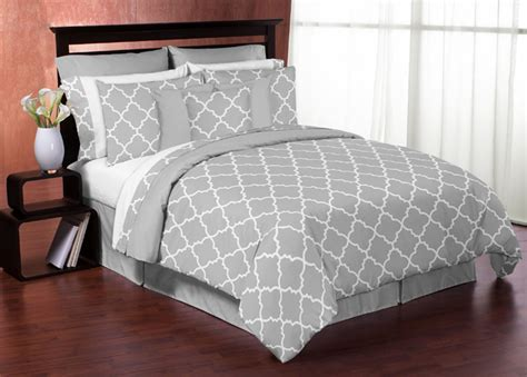 Gray White Trellis Print King Size Bed In A Bag