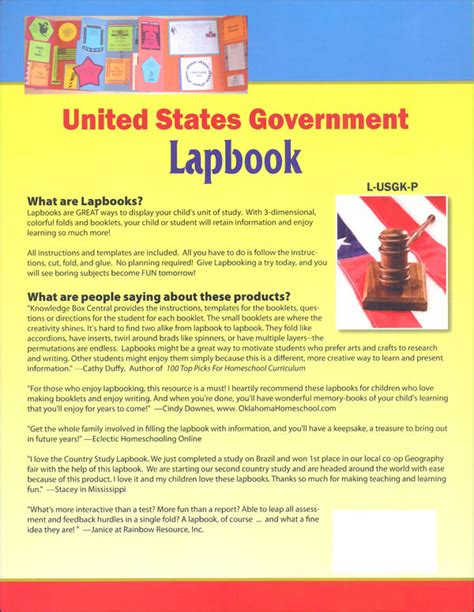 united states government lapbook printed grades