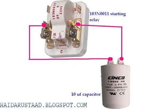 how do i connect a capacitor to a motor how to connect capacitor to 103n0011 starting relay danfoos compressor relay 171 electrical and