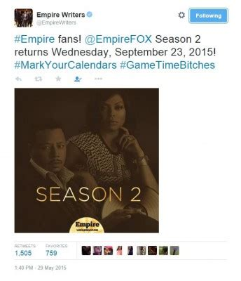 empire tv show renewed for season 2 empire season two premiere date announced canceled tv