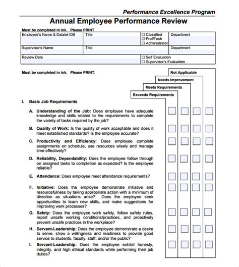 annual review template employee performance review template 9 free documents