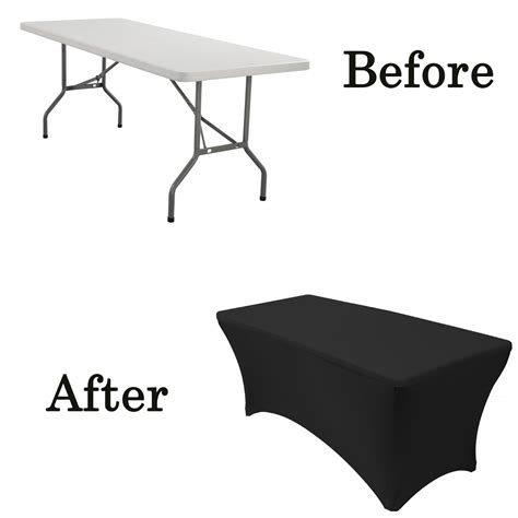 black stretch table covers stretch spandex 6 ft rectangular table cover black your