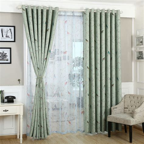 Blue And Green Kitchen Curtains Curtains For Bedroom Blue Green Pattern Blackout Window Treatments Pastoral Curtain Kitchen Hook