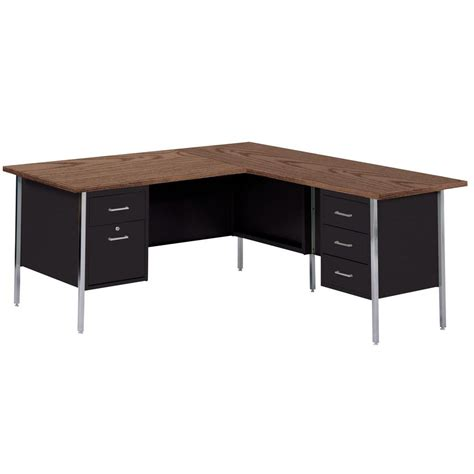 Home Depot Office Furniture Sandusky 30 In H X 66 In W X 30 In D 500 Series L Shaped Steel Desk In Black Walnut Rw4224 Bw