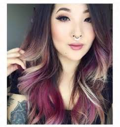 purple brown hair color brown purple dyed blond hair color dip dyed ombre