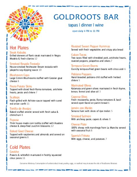 spanish restaurant menu cafe menus