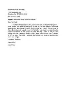marriage leave application letter sle free