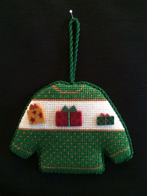 needlepoint christmas sweater ornament christmas
