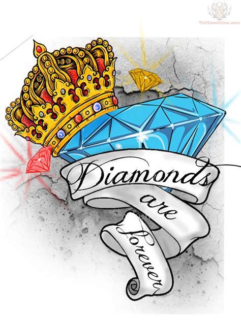pictures of diamond tattoos designs crown and banner design