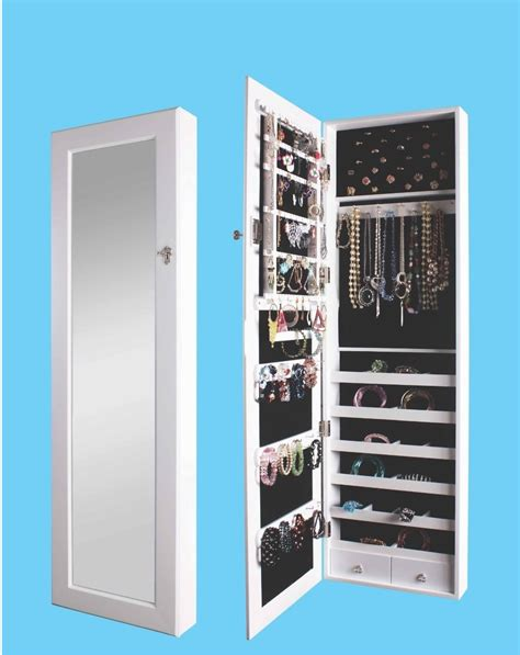 wall mounted jewelry armoire cabinet white cheval mirror overdoor wall mounted hang jewelry