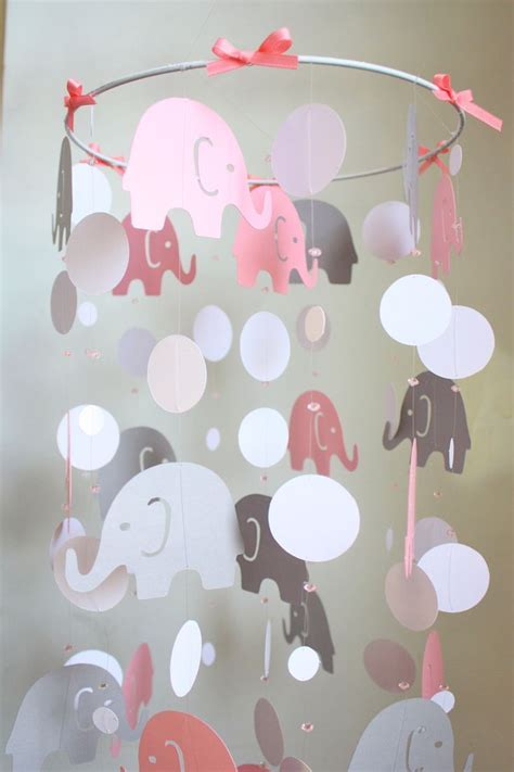 Elephant Mobile For Crib by Elephant Baby Mobile Pink Gray Baby Crib To Do Diy