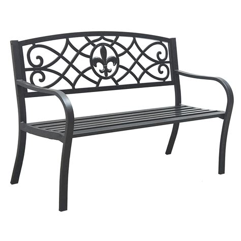 shop garden treasures 23 75 in l steel iron patio bench at
