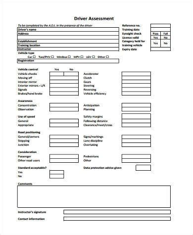 driver assessment form template sle driver assessment forms 8 free documents in word