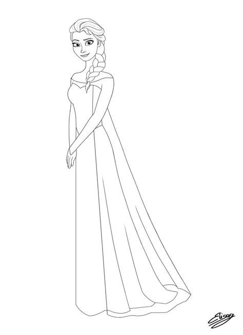 Disney Princess Elsa Line Art By Elygraphic On Deviantart Princess Elsa Drawing