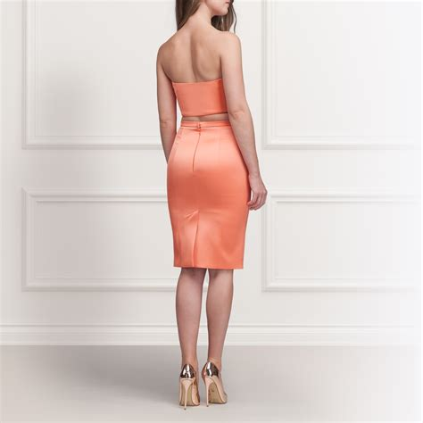 pink coral stretch satin pencil skirt grace